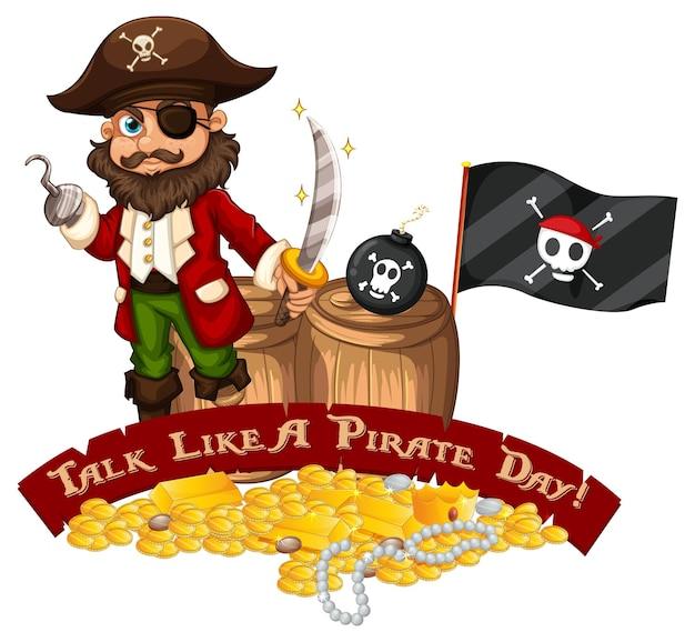 海賊の漫画のキャラクターと海賊の日のフォントバナーのように話す