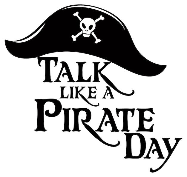 Логотип talk like a pirate day с пиратской шляпой на белом фоне