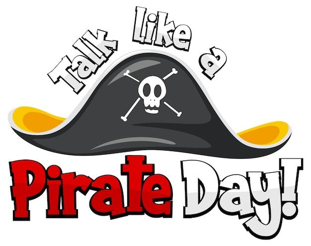 흰색 배경에 해적 모자와 함께 해적의 날 로고처럼 이야기