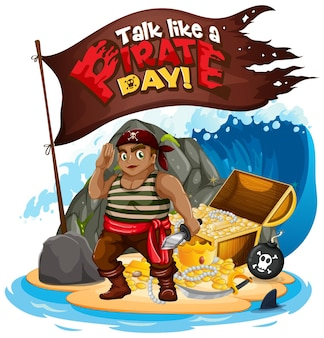 Talk like a pirate day font banner with pirate cartoon character