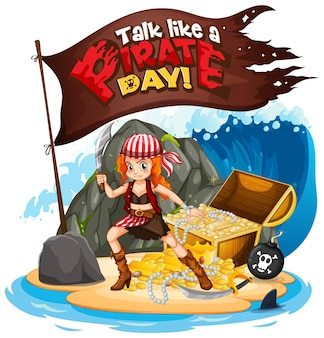Talk like a pirate day font with a pirate girl on the island