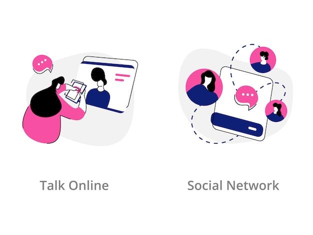Обсуждение онлайн, концепция иллюстрации социальной сети