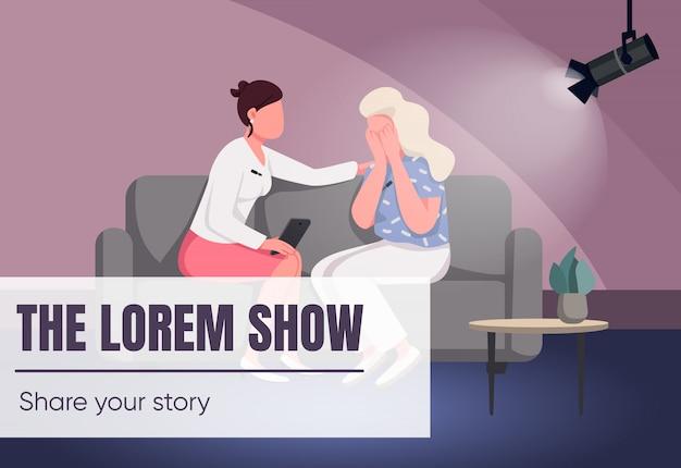 Talk show banner flat template