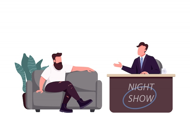 Talk show host and guest flat color vector faceless characters. chat show, live interview isolated cartoon illustration for web graphic design and animation.