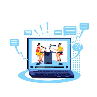 Ток-шоу онлайн плоская концепция. потоковое видео с компьютера. воспроизведение контента на ноутбуке. подкаст содержит 2d-персонажей мультфильмов для веб-дизайна. творческая идея разговорного видео