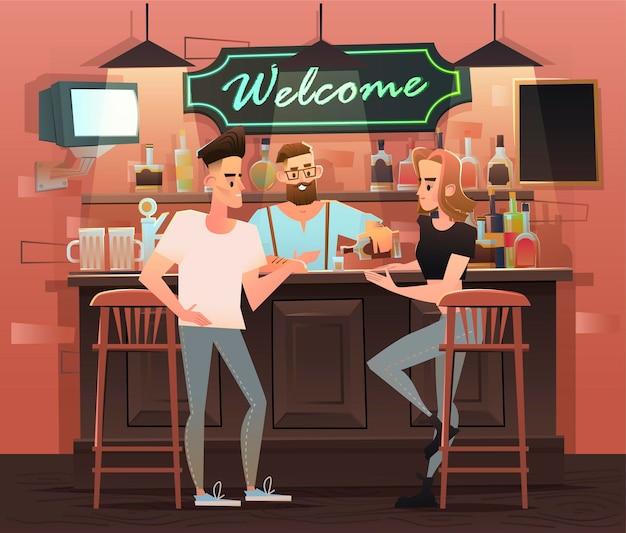 Говорящие и пьющие друзья в баре иллюстрации
