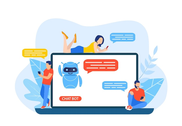 Talking to a chatbot online on laptop computer.