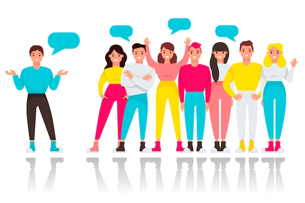 Говорящая группа молодых людей. Premium векторы