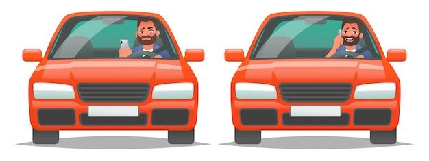 차량 운전 중 전화 통화. 차 안에 있는 한 남자가 스마트폰을 사용합니다. 위험한 운전의 개념과 사고의 위험. 만화 스타일의 벡터 일러스트 레이 션