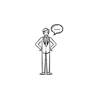 話す人手描きのアウトライン落書きベクトルアイコン。白い背景で隔離の印刷物、ウェブ、モバイル、インフォグラフィックの吹き出しスケッチイラストを持つ人。