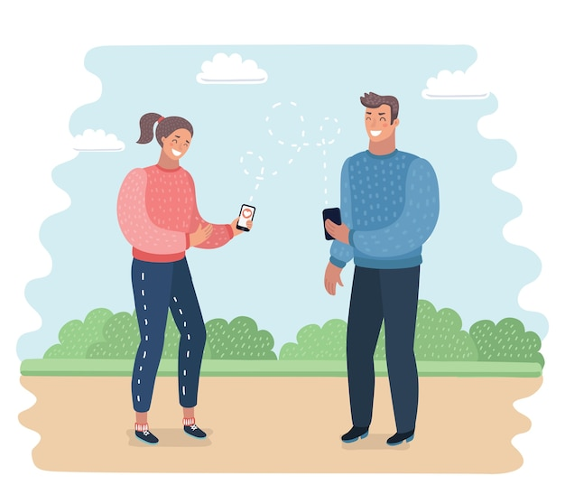 Talking on phone vector concept.