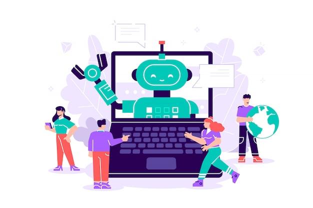 ラップトップコンピューターでチャットボットとオンラインで会話する