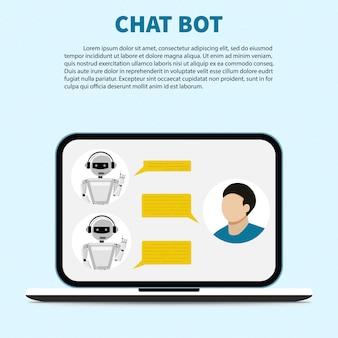 ラップトップコンピューターでオンラインのチャットボットに話しかける。