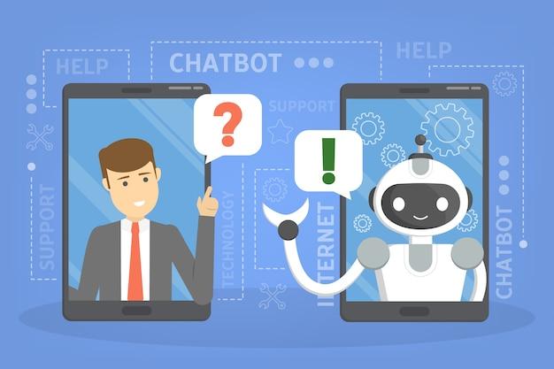 휴대폰으로 온라인 챗봇과 대화. 채팅 봇과의 커뮤니케이션. 고객 서비스 및 지원. 인공 지능 개념. 삽화