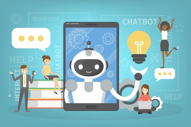 스마트 폰에서 온라인으로 챗봇과 대화. 채팅 봇과의 커뮤니케이션. 고객 서비스 및 지원. 인공 지능 개념. 삽화