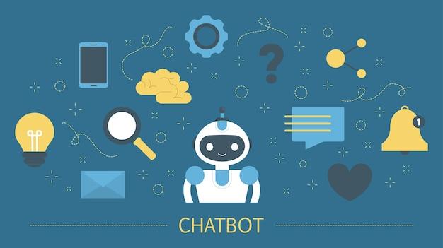 スマートフォンでオンラインでチャットボットに話しかける。チャットボットとの通信。カスタマーサービスとサポート。人工知能のコンセプトです。カラフルなアイコンのセットです。図