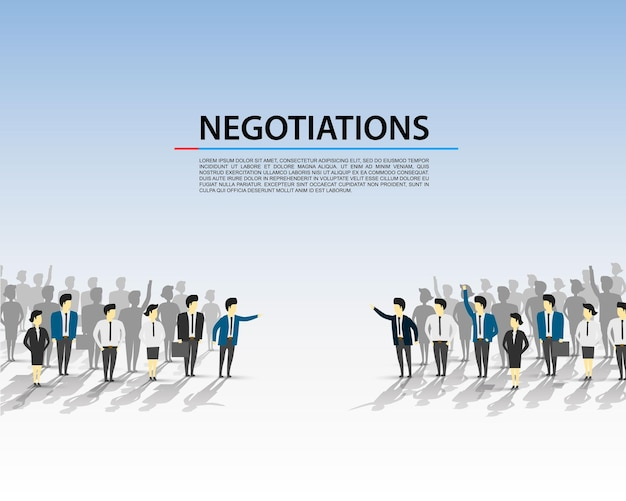Talks of a crowd of people on a blue background. vector illustration
