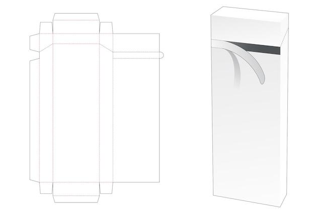 지퍼 다이 컷 템플릿이있는 크고 주석 직사각형 포장 상자 프리미엄 벡터