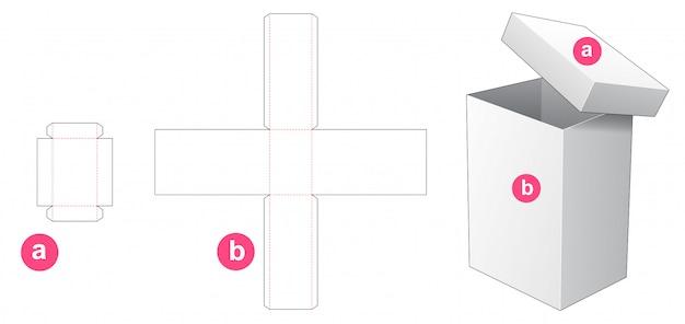トールボックスと蓋のパッケージダイカットテンプレートデザイン