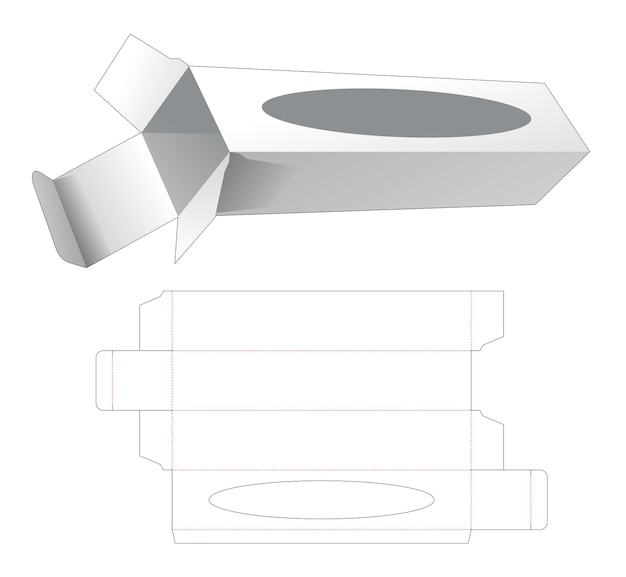 Tall box with ellipse shaped window die cut template