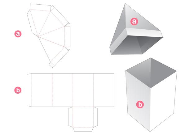 Tall box with pyramid shaped lid die cut template
