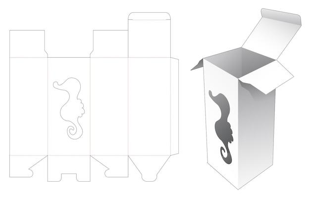 タツノオトシゴの形をした窓のダイカットテンプレートと背の高いボックス