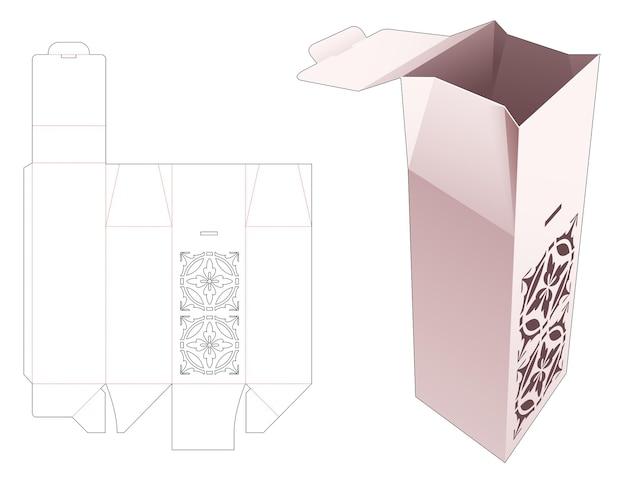 스텐실 만다라와 잠긴 포인트 플립 다이 컷 템플릿이있는 키 큰 상자