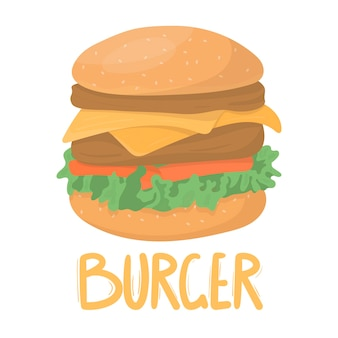 Высокий вкусный бургер с двумя котлетами и сыром
