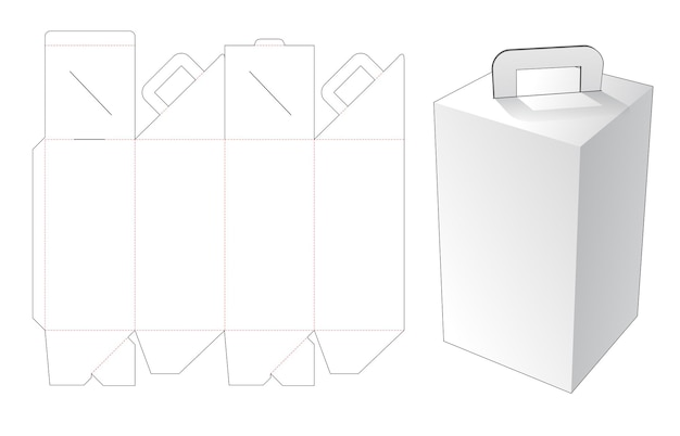 Tall delivery meal box with handle die cut template