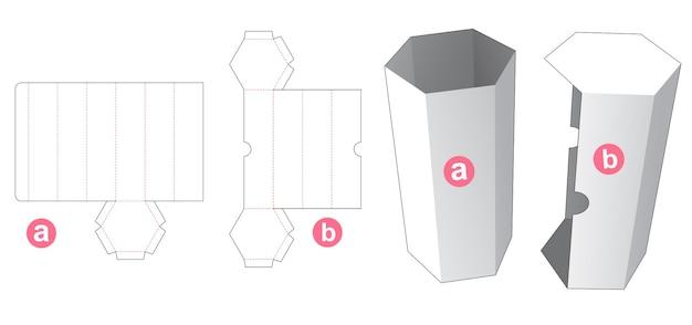 커버 다이 컷 템플릿이있는 높이 육각형