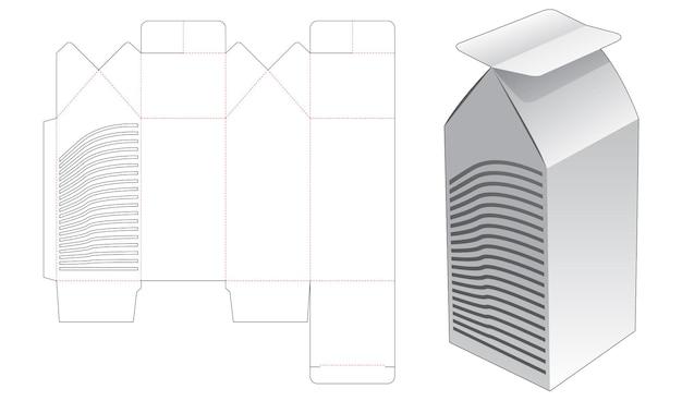 스텐실 곡선 다이 컷 템플릿이있는 키 큰 집 모양의 상자