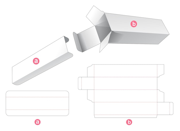 Tall packaging box with partition insert die cut template