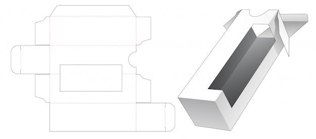 Tall packaging with corner window die cut template