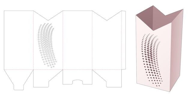 스텐실 하프 톤 도트 다이 컷 템플릿이있는 키 큰 편지지 상자