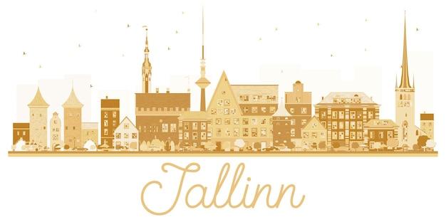 タリン市のスカイラインの黄金のシルエット。ベクトルイラスト。出張の概念。ランドマークのある街並み。