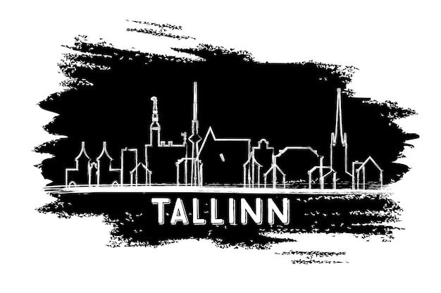 Таллинн эстония skyline силуэт. рисованный эскиз. деловые поездки и концепция туризма с исторической архитектурой. изображение для презентационного баннера и веб-сайта. векторные иллюстрации.