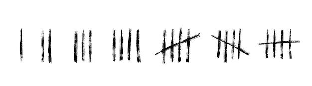 壁の数直線を集計します。刑務所での時間を数えるための手描きの棒。ベクトルイラストデザインセット。