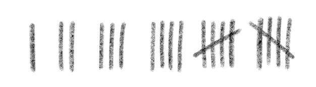 벽에 숫자 선을 표시합니다. 감옥에서 시간을 세는 손으로 그린 막대기. 벡터 일러스트 레이 션 디자인 모음입니다.