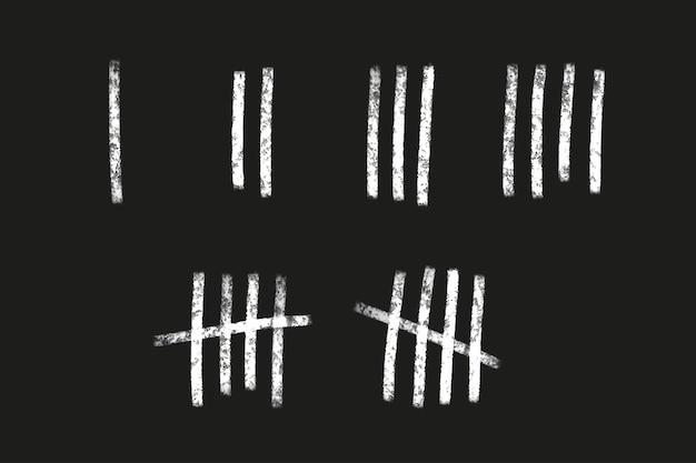 Подсчитайте числовые линии на стене. ручной обращается палочки для отсчета времени в тюрьме. набор векторных иллюстраций.