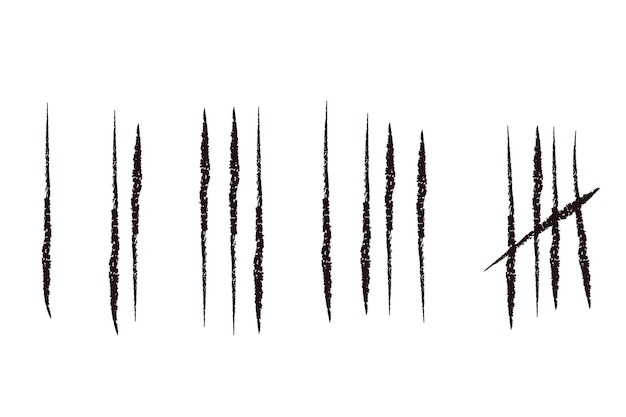 タリーは、白で隔離された手描きの線や棒をマークします