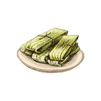 Тамале в тарелке - традиционная мексиканская еда. векторные винтажные штриховки цветные иллюстрации. изолированные на белом фоне. рисованный дизайн