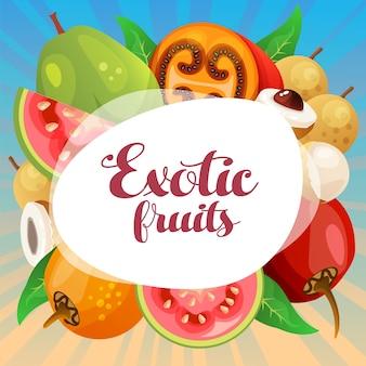 Tamarillo guava longan exotic fruit card