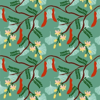 Tamarind tree and flower pattern on green background
