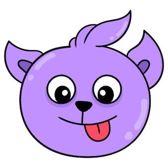 The tame purple dog head is sneering, vector illustration carton emoticon. doodle icon drawing