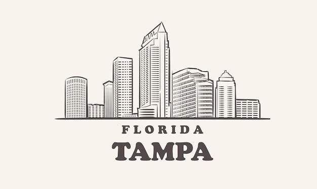 탬파 스카이 라인, 플로리다 그린 스케치 큰 도시