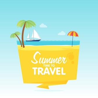 旅行、夏休み、ベクトルフラット背景とオブジェクトイラストバッジtamplateの時間