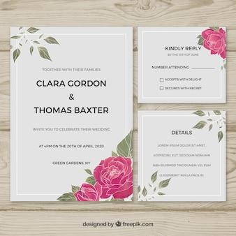 水彩フラワー結婚式招待状tamplate