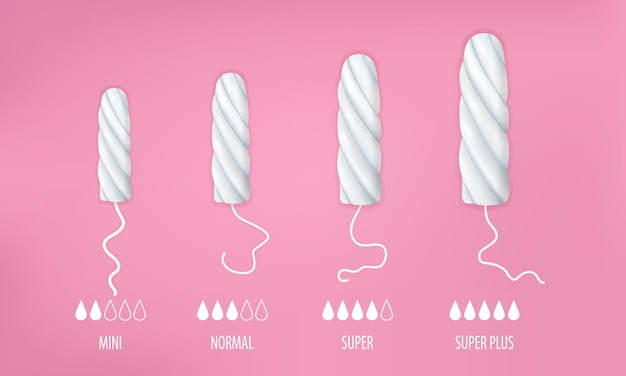 Tampons set with mini normal and super size realistic isolated