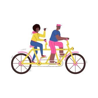 Персонажи из мультфильма всадников тандема велосипеда, изолированная иллюстрация вектора эскиза.
