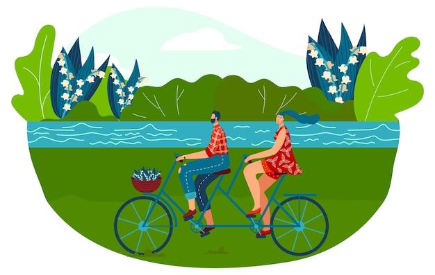 タンデム自転車に乗るイラスト。